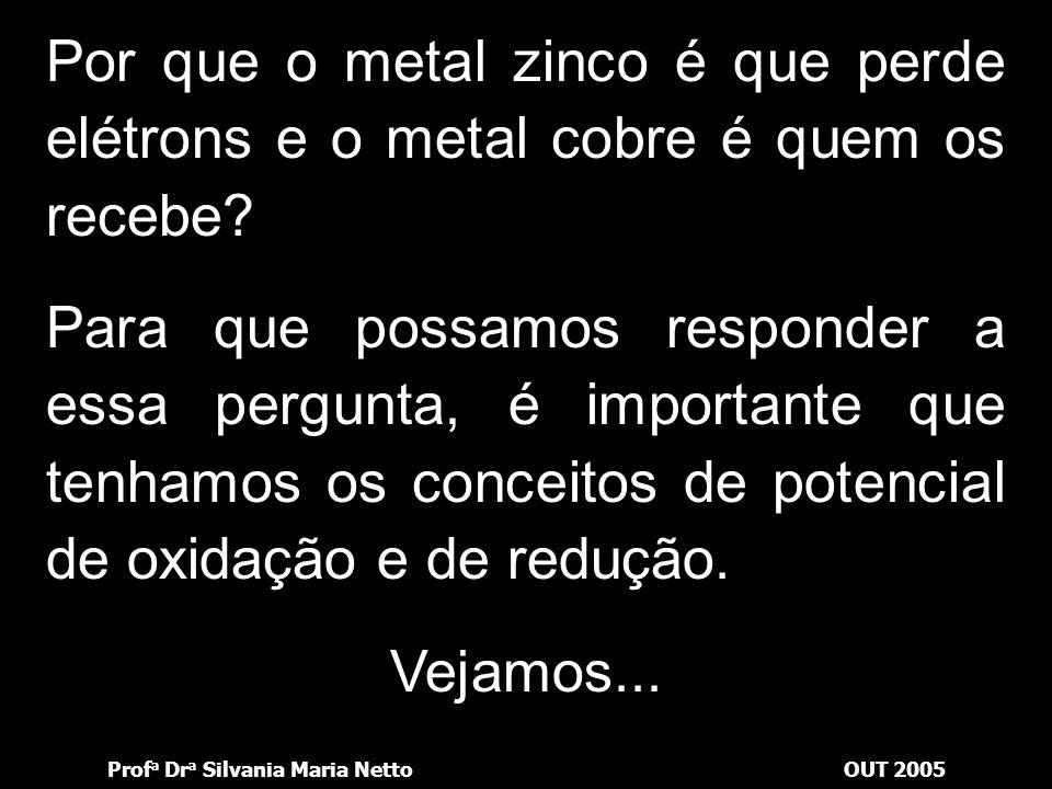 Por que o metal zinco é que perde elétrons e o metal cobre é quem os recebe