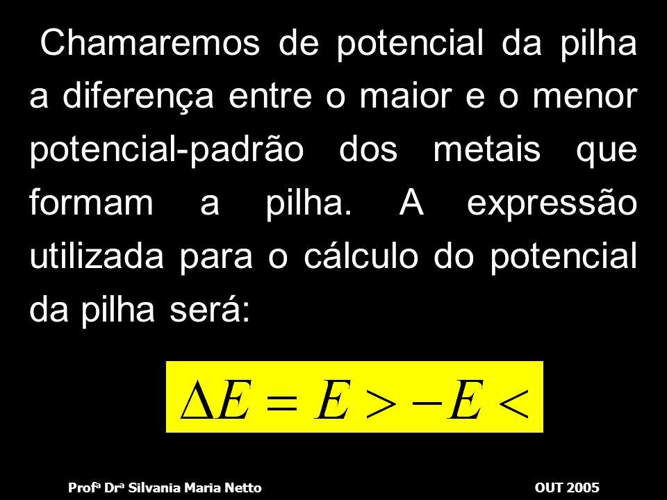 Chamaremos de potencial da pilha a diferença entre o maior e o menor potencial-padrão dos metais que formam a pilha.
