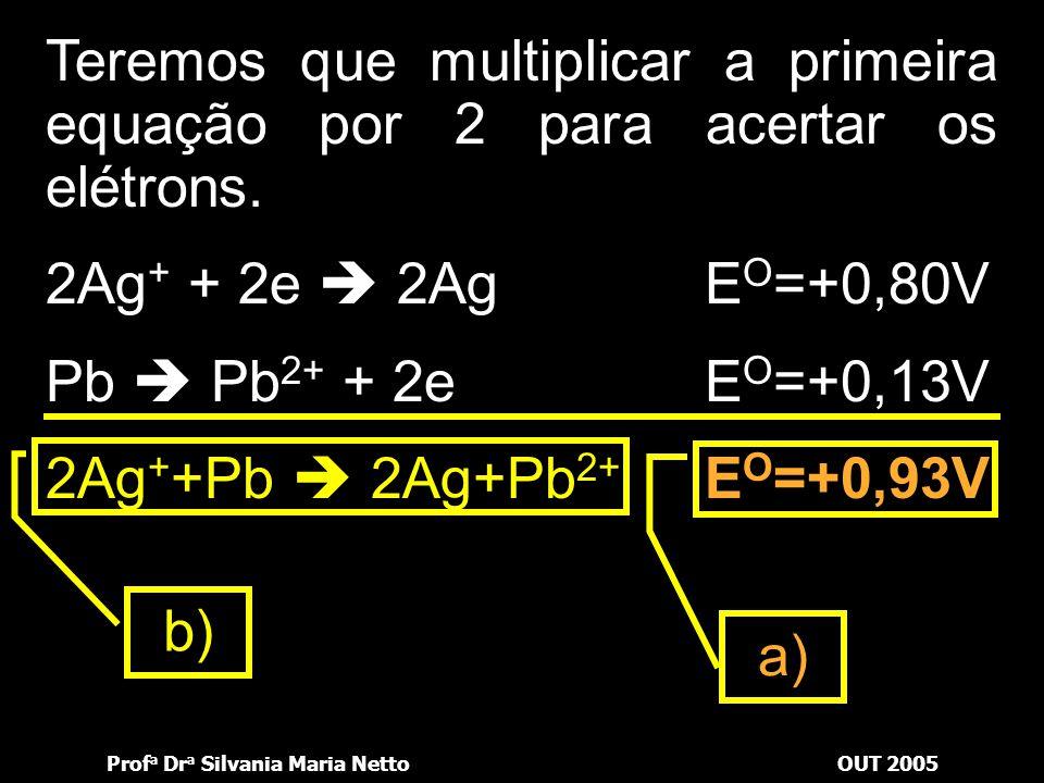Teremos que multiplicar a primeira equação por 2 para acertar os elétrons.