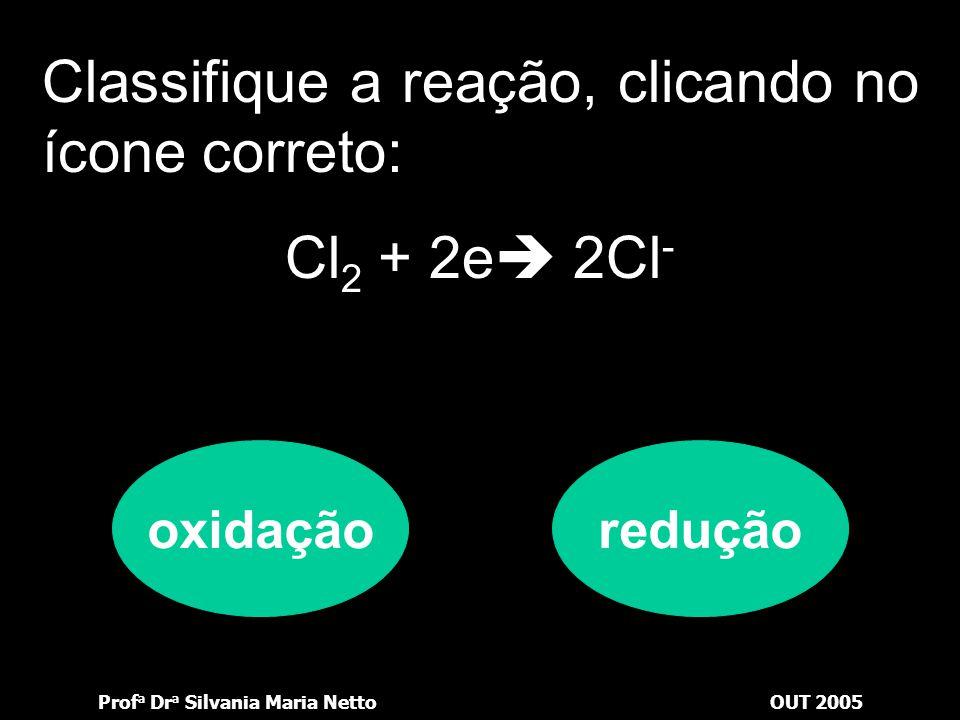 Classifique a reação, clicando no ícone correto: Cl2 + 2e 2Cl-