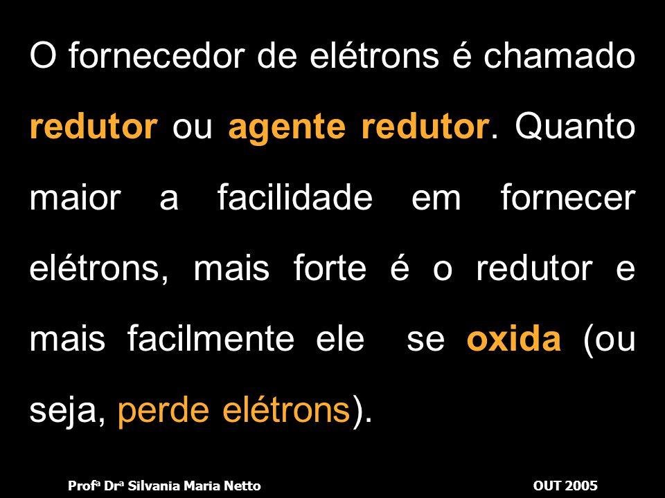 O fornecedor de elétrons é chamado redutor ou agente redutor