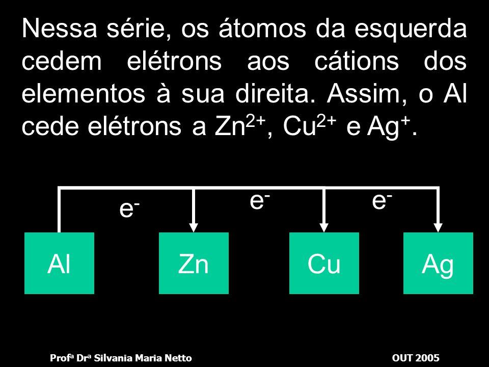Nessa série, os átomos da esquerda cedem elétrons aos cátions dos elementos à sua direita. Assim, o Al cede elétrons a Zn2+, Cu2+ e Ag+.