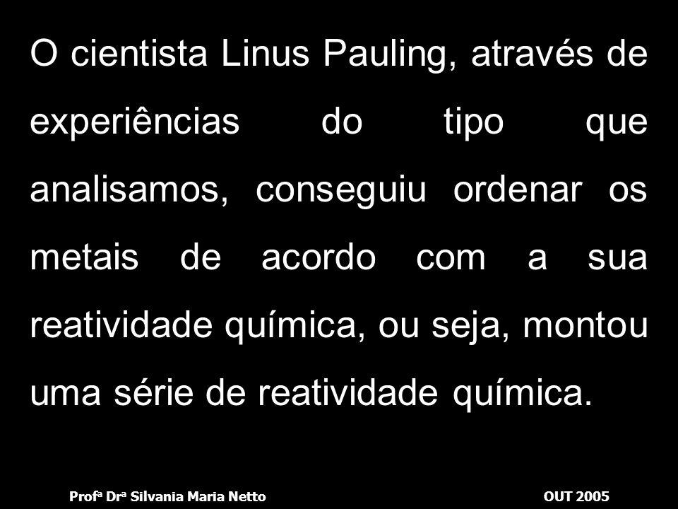 O cientista Linus Pauling, através de experiências do tipo que analisamos, conseguiu ordenar os metais de acordo com a sua reatividade química, ou seja, montou uma série de reatividade química.