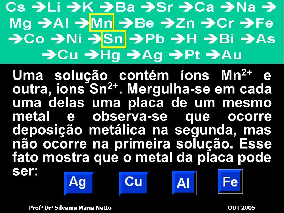 Uma solução contém íons Mn2+ e outra, íons Sn2+