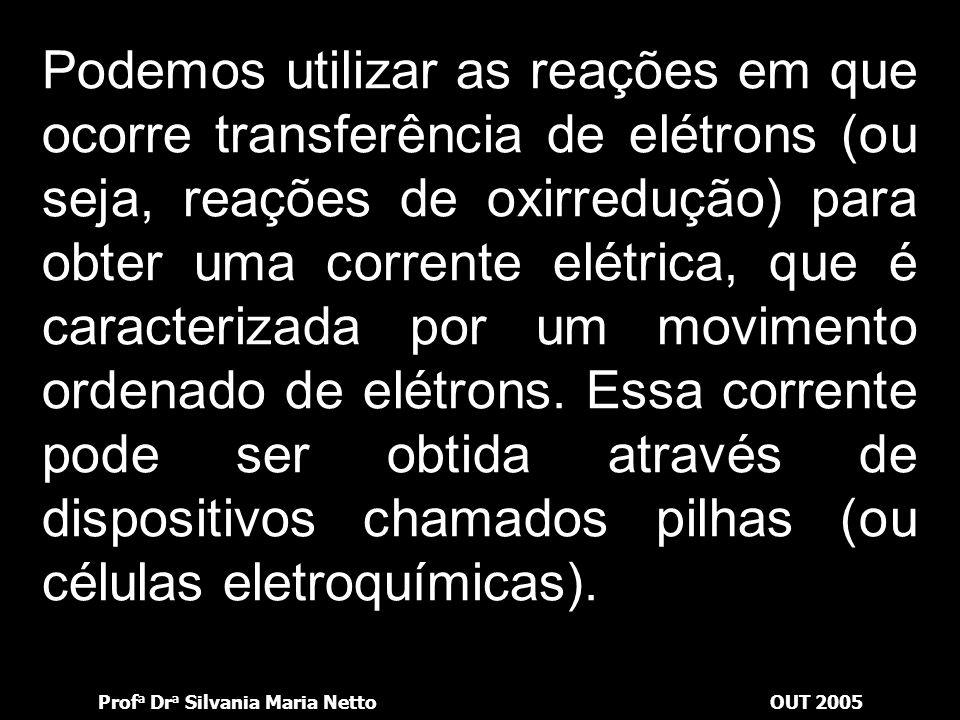 Podemos utilizar as reações em que ocorre transferência de elétrons (ou seja, reações de oxirredução) para obter uma corrente elétrica, que é caracterizada por um movimento ordenado de elétrons.
