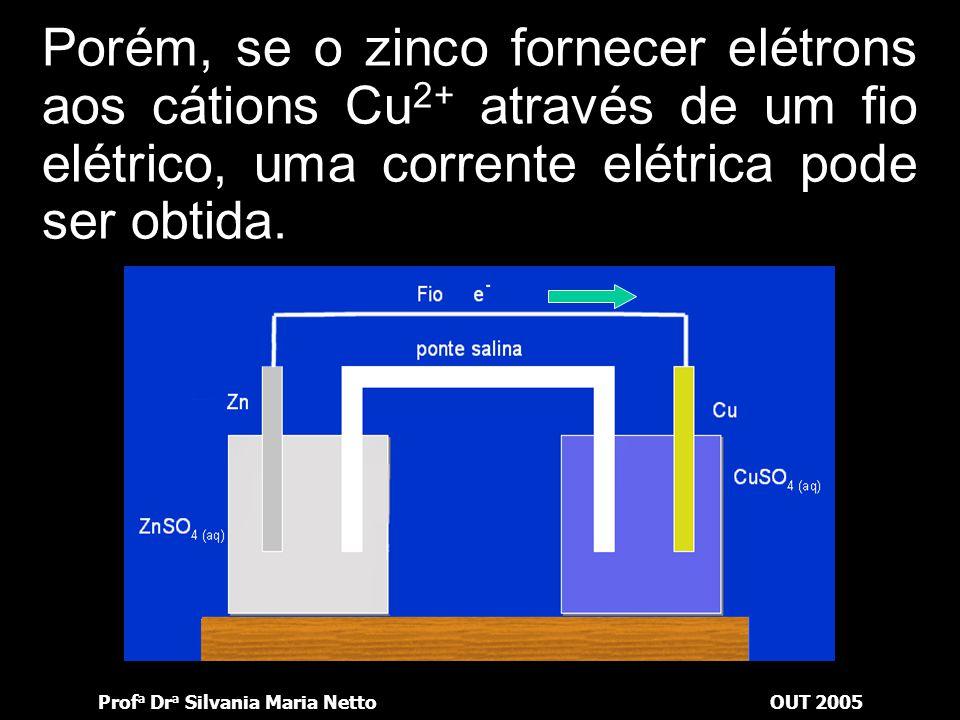 Porém, se o zinco fornecer elétrons aos cátions Cu2+ através de um fio elétrico, uma corrente elétrica pode ser obtida.
