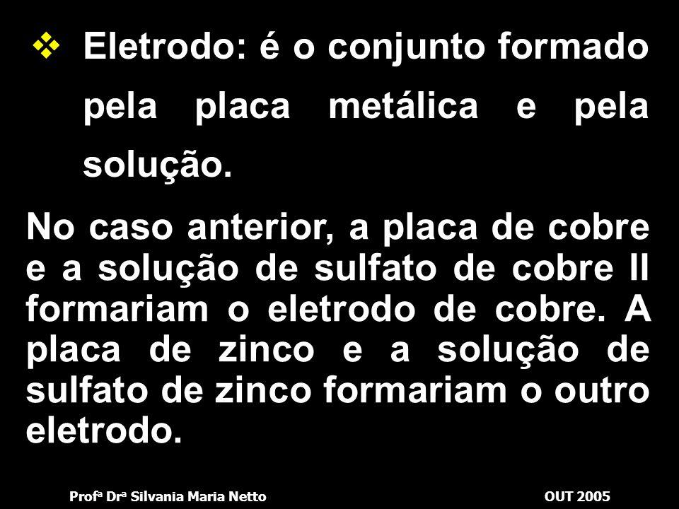 Eletrodo: é o conjunto formado pela placa metálica e pela solução.