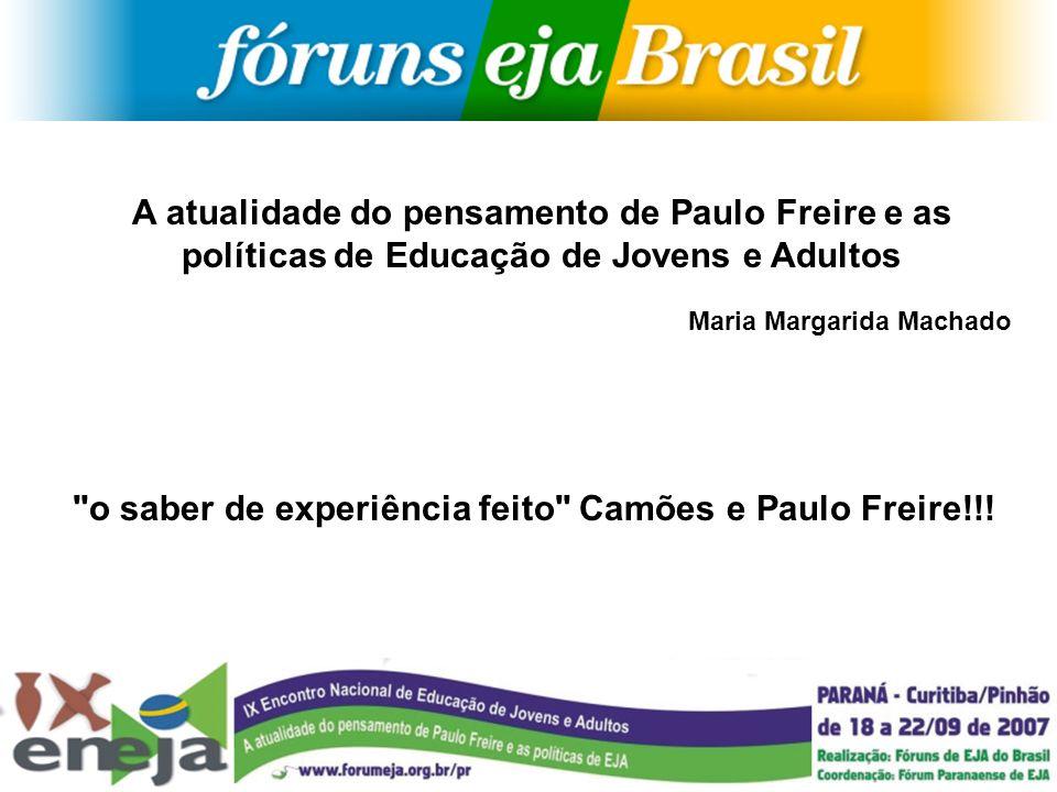 A atualidade do pensamento de Paulo Freire e as políticas de Educação de Jovens e Adultos