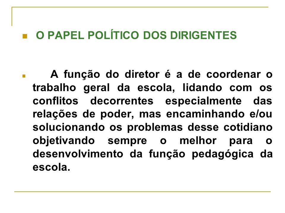 O PAPEL POLÍTICO DOS DIRIGENTES