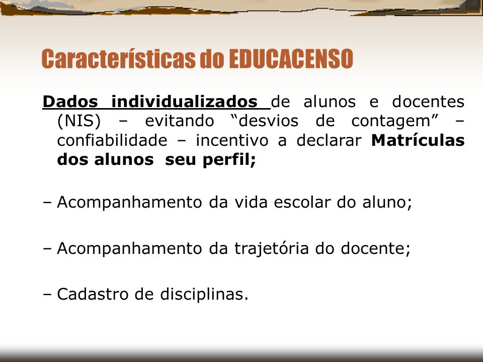Características do EDUCACENSO