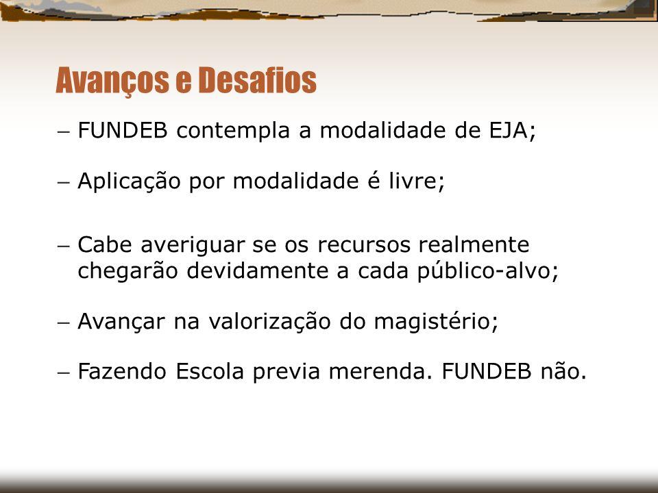 Avanços e Desafios FUNDEB contempla a modalidade de EJA;