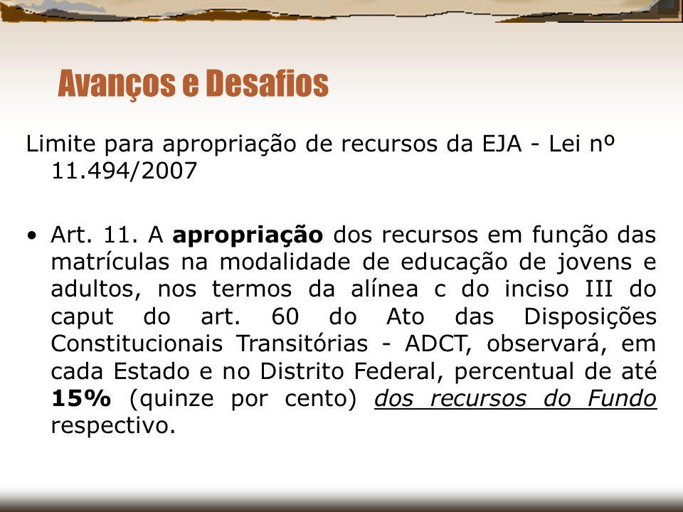 Avanços e Desafios Limite para apropriação de recursos da EJA - Lei nº 11.494/2007.
