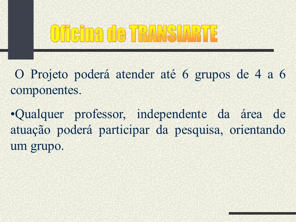 Oficina de TRANSIARTE O Projeto poderá atender até 6 grupos de 4 a 6 componentes.