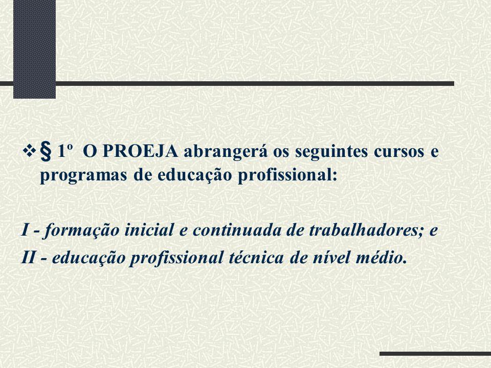 § 1º O PROEJA abrangerá os seguintes cursos e programas de educação profissional: