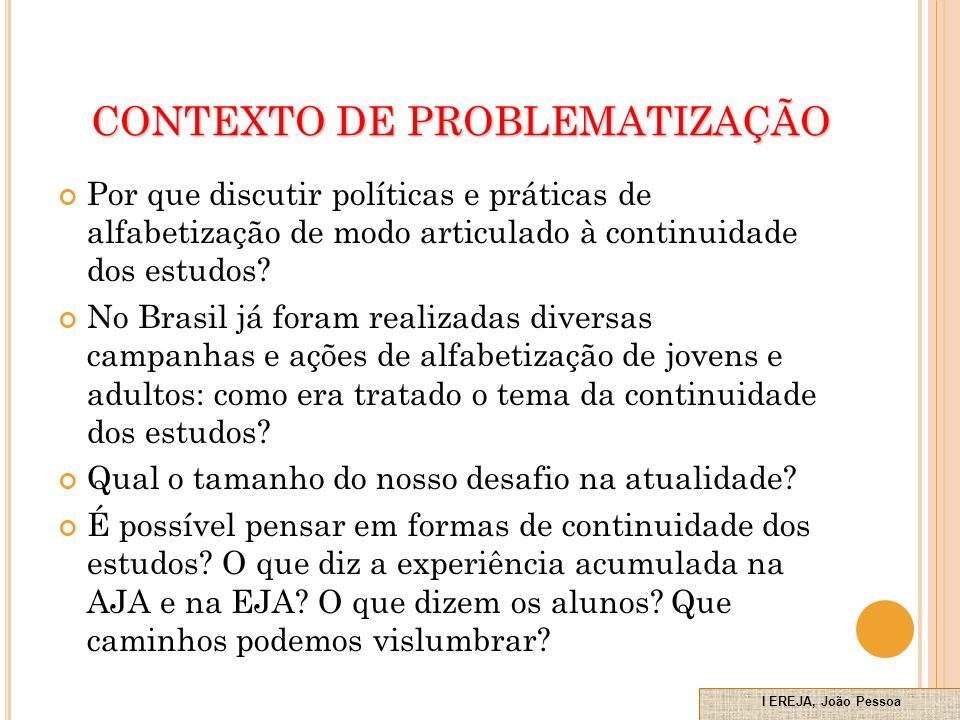 CONTEXTO DE PROBLEMATIZAÇÃO
