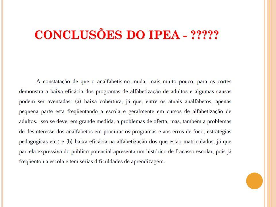 CONCLUSÕES DO IPEA -