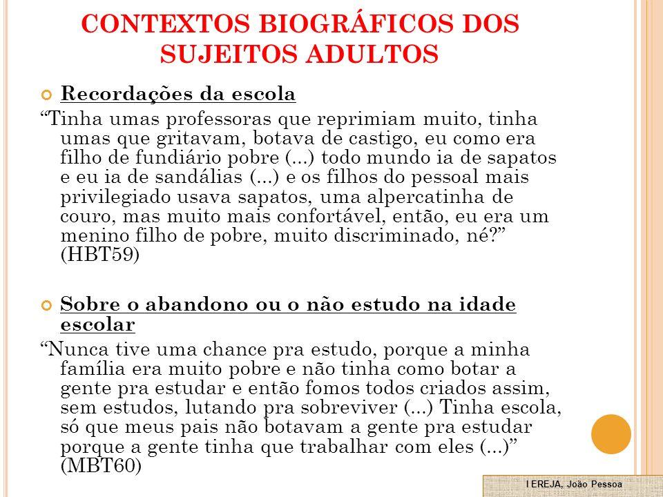 CONTEXTOS BIOGRÁFICOS DOS SUJEITOS ADULTOS