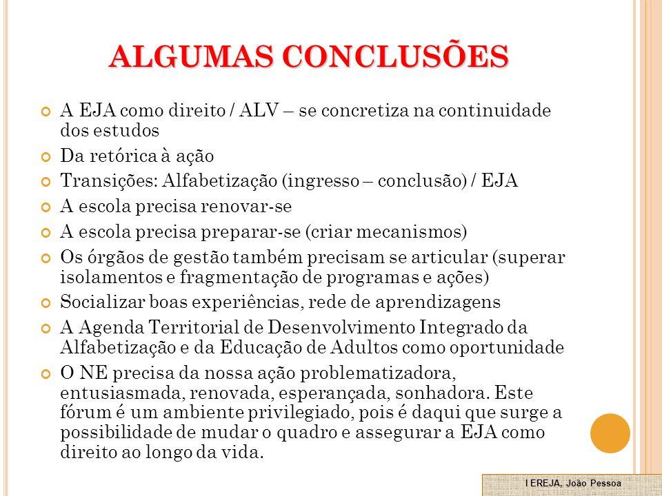 ALGUMAS CONCLUSÕES A EJA como direito / ALV – se concretiza na continuidade dos estudos. Da retórica à ação.