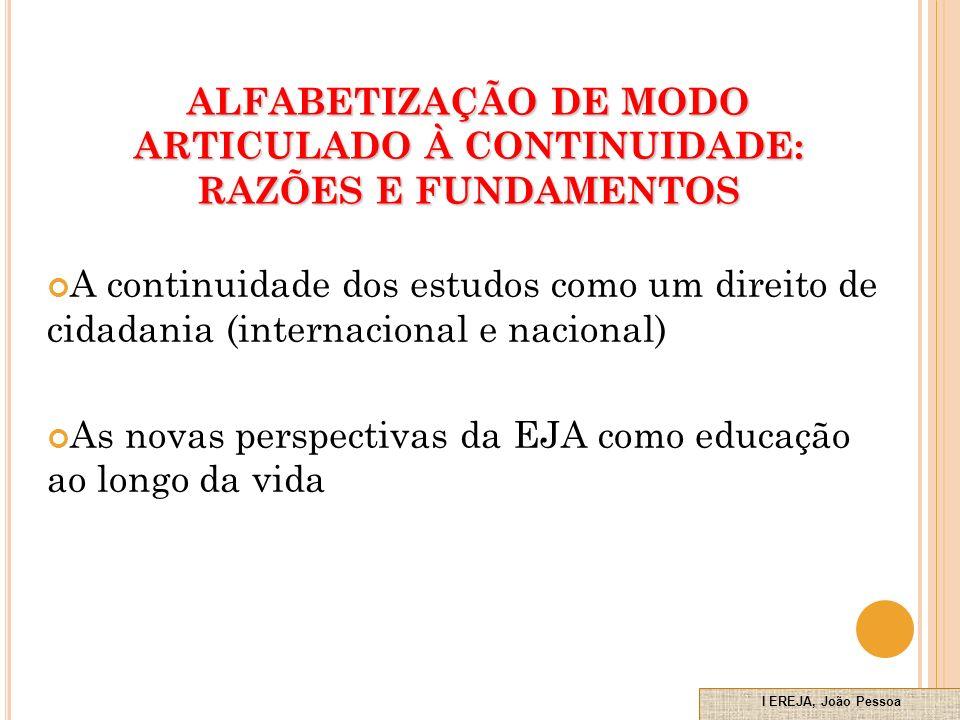 ALFABETIZAÇÃO DE MODO ARTICULADO À CONTINUIDADE: