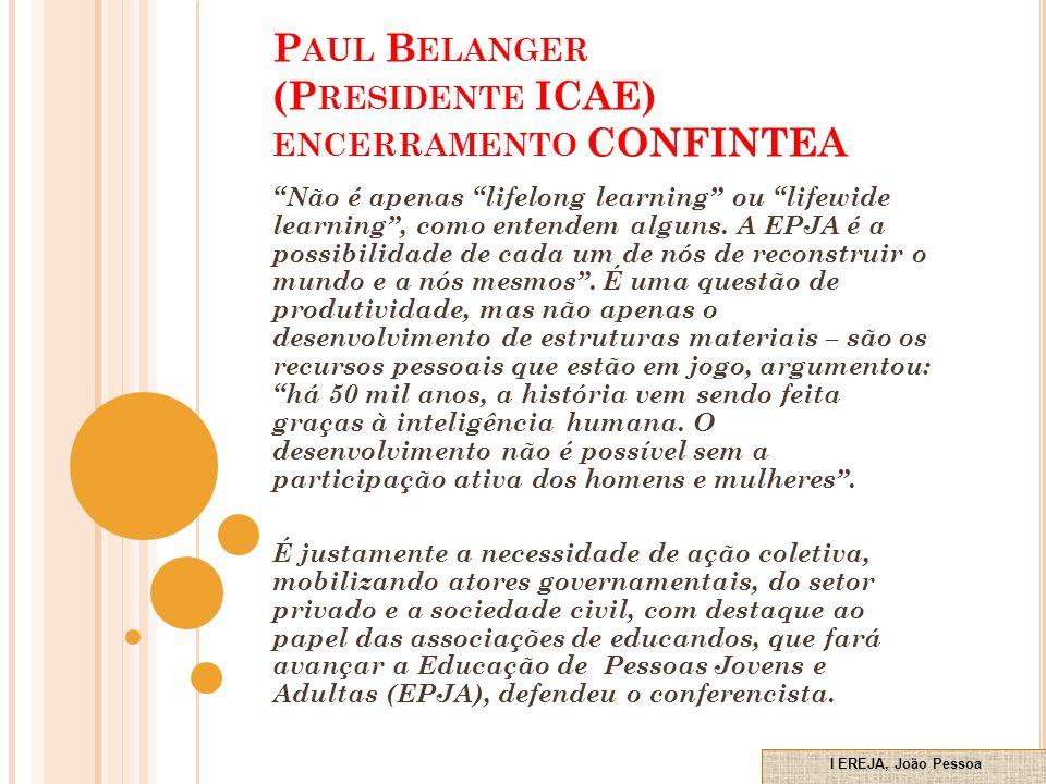 Paul Belanger (Presidente ICAE) encerramento CONFINTEA