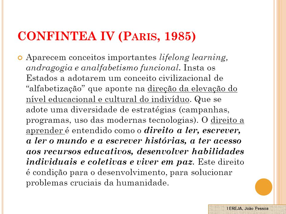 CONFINTEA IV (Paris, 1985)