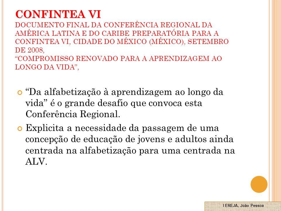 CONFINTEA VI DOCUMENTO FINAL DA CONFERÊNCIA REGIONAL DA AMÉRICA LATINA E DO CARIBE PREPARATÓRIA PARA A CONFINTEA VI, CIDADE DO MÉXICO (MÉXICO), SETEMBRO DE 2008, COMPROMISSO RENOVADO PARA A APRENDIZAGEM AO LONGO DA VIDA ,