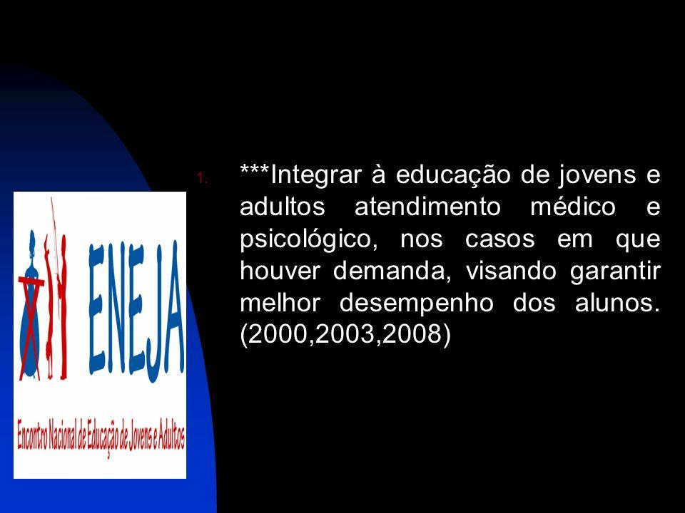 ***Integrar à educação de jovens e adultos atendimento médico e psicológico, nos casos em que houver demanda, visando garantir melhor desempenho dos alunos.