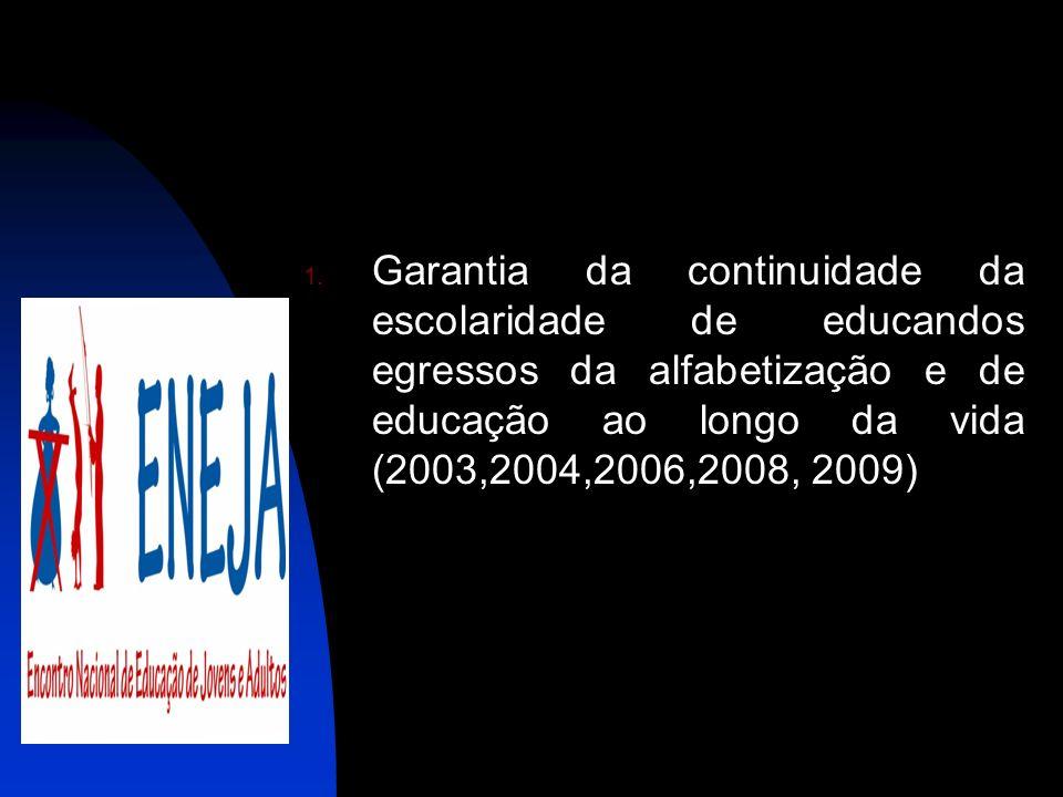 Garantia da continuidade da escolaridade de educandos egressos da alfabetização e de educação ao longo da vida (2003,2004,2006,2008, 2009)
