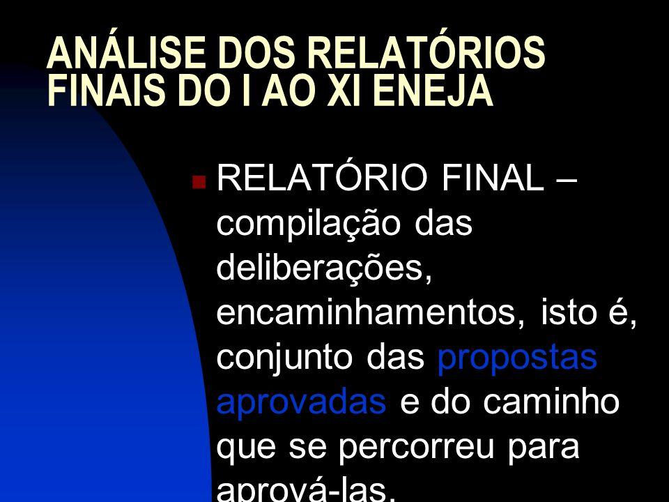 ANÁLISE DOS RELATÓRIOS FINAIS DO I AO XI ENEJA