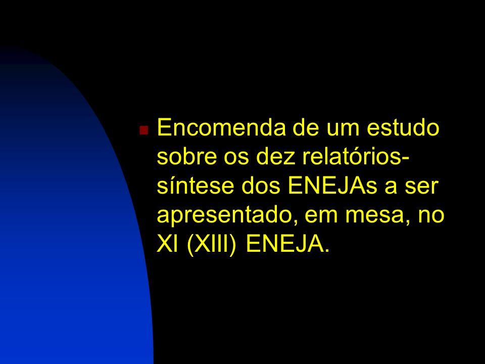 Encomenda de um estudo sobre os dez relatórios-síntese dos ENEJAs a ser apresentado, em mesa, no XI (XIII) ENEJA.
