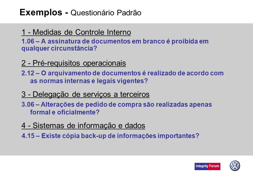 Exemplos - Questionário Padrão