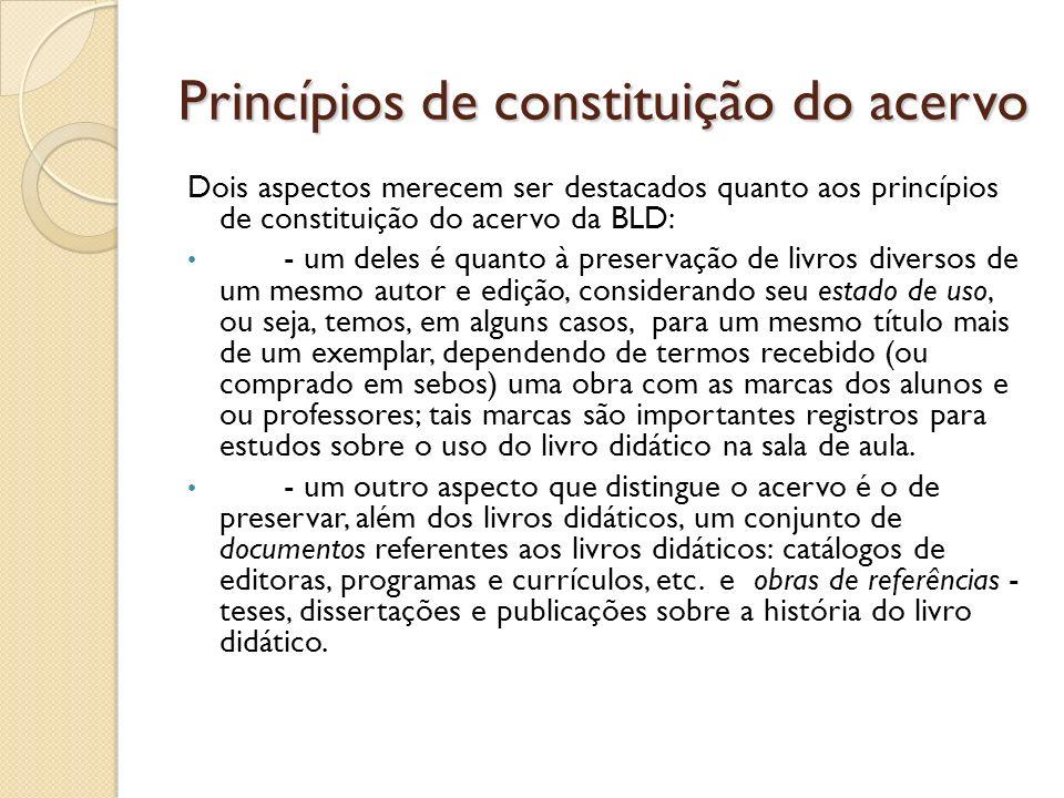 Princípios de constituição do acervo