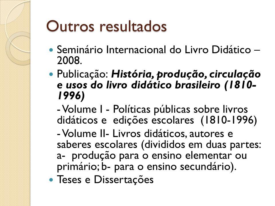 Outros resultados Seminário Internacional do Livro Didático – 2008.