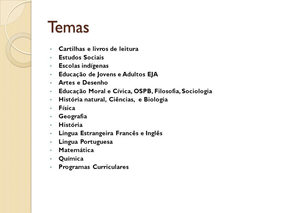 Temas Cartilhas e livros de leitura Estudos Sociais Escolas indígenas