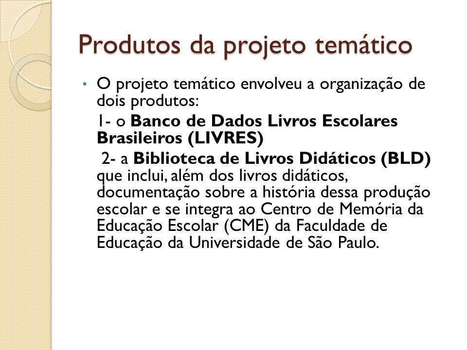 Produtos da projeto temático