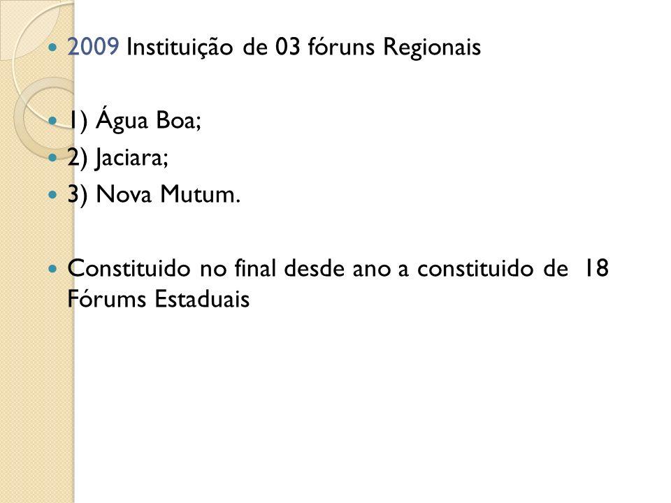 2009 Instituição de 03 fóruns Regionais