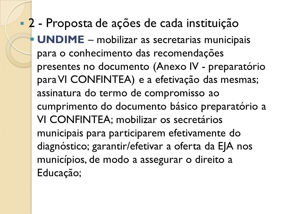 2 - Proposta de ações de cada instituição