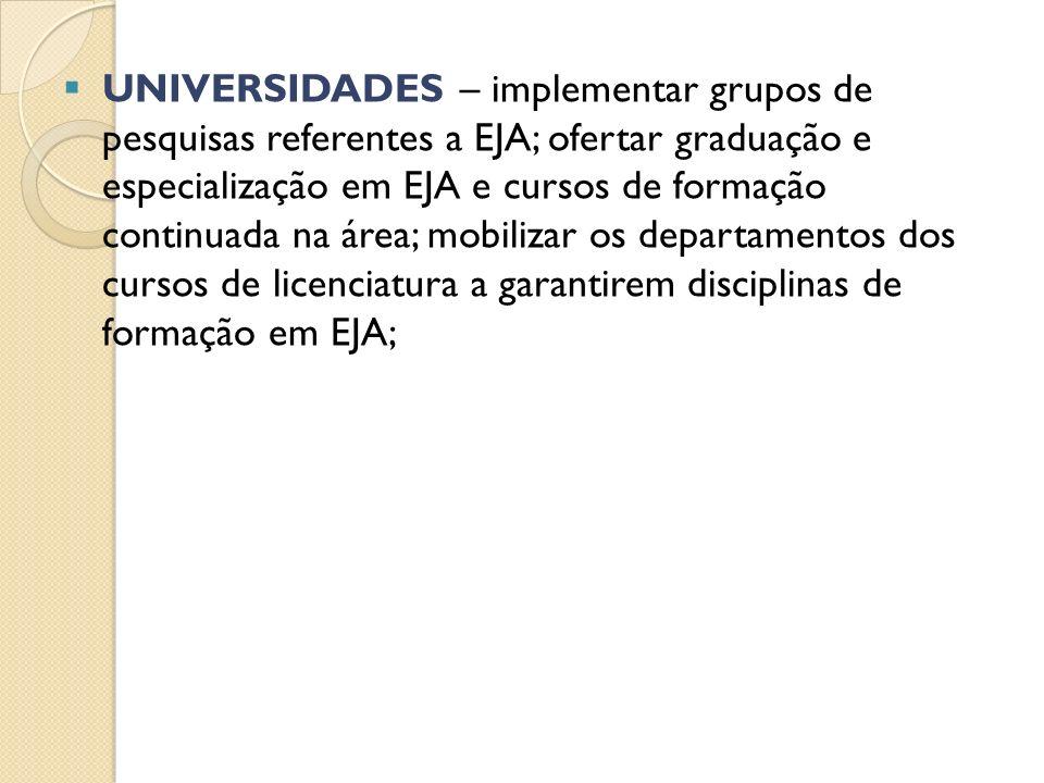 UNIVERSIDADES – implementar grupos de pesquisas referentes a EJA; ofertar graduação e especialização em EJA e cursos de formação continuada na área; mobilizar os departamentos dos cursos de licenciatura a garantirem disciplinas de formação em EJA;