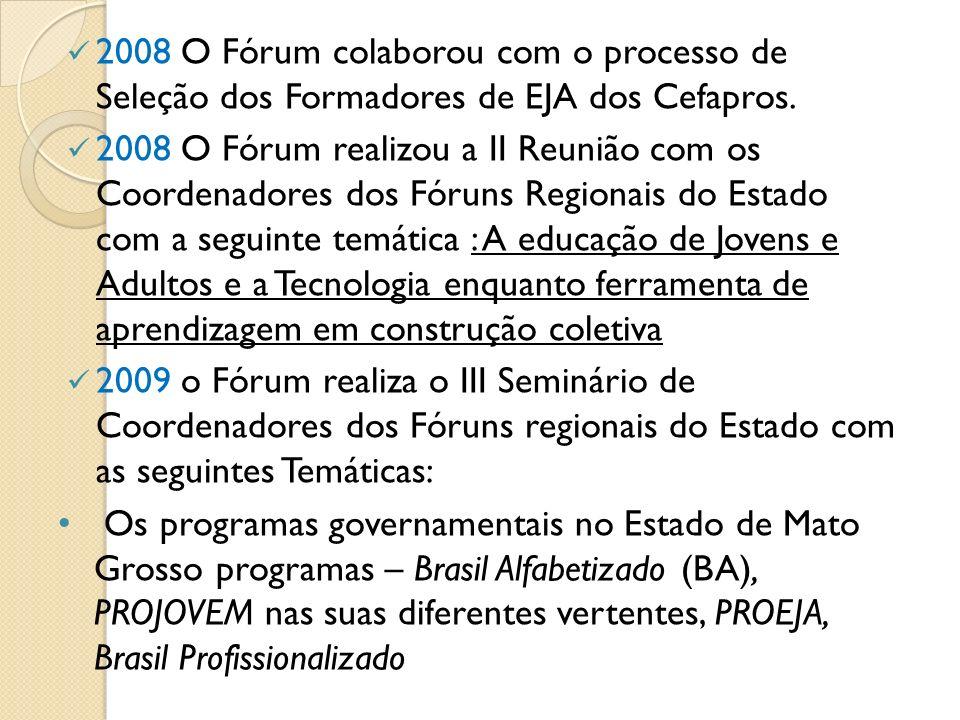 2008 O Fórum colaborou com o processo de Seleção dos Formadores de EJA dos Cefapros.