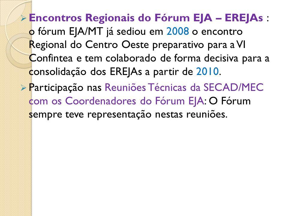 Encontros Regionais do Fórum EJA – EREJAs : o fórum EJA/MT já sediou em 2008 o encontro Regional do Centro Oeste preparativo para a VI Confintea e tem colaborado de forma decisiva para a consolidação dos EREJAs a partir de 2010.