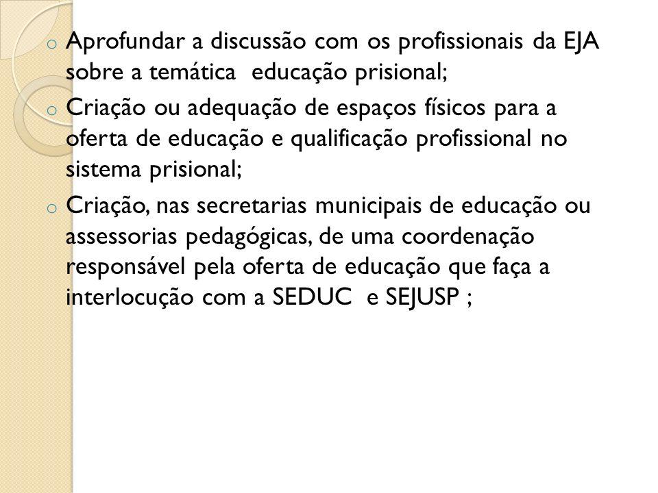 Aprofundar a discussão com os profissionais da EJA sobre a temática educação prisional;