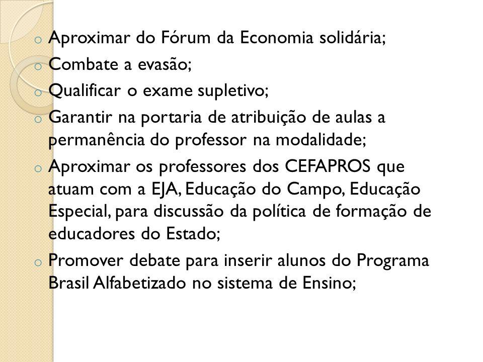 Aproximar do Fórum da Economia solidária;