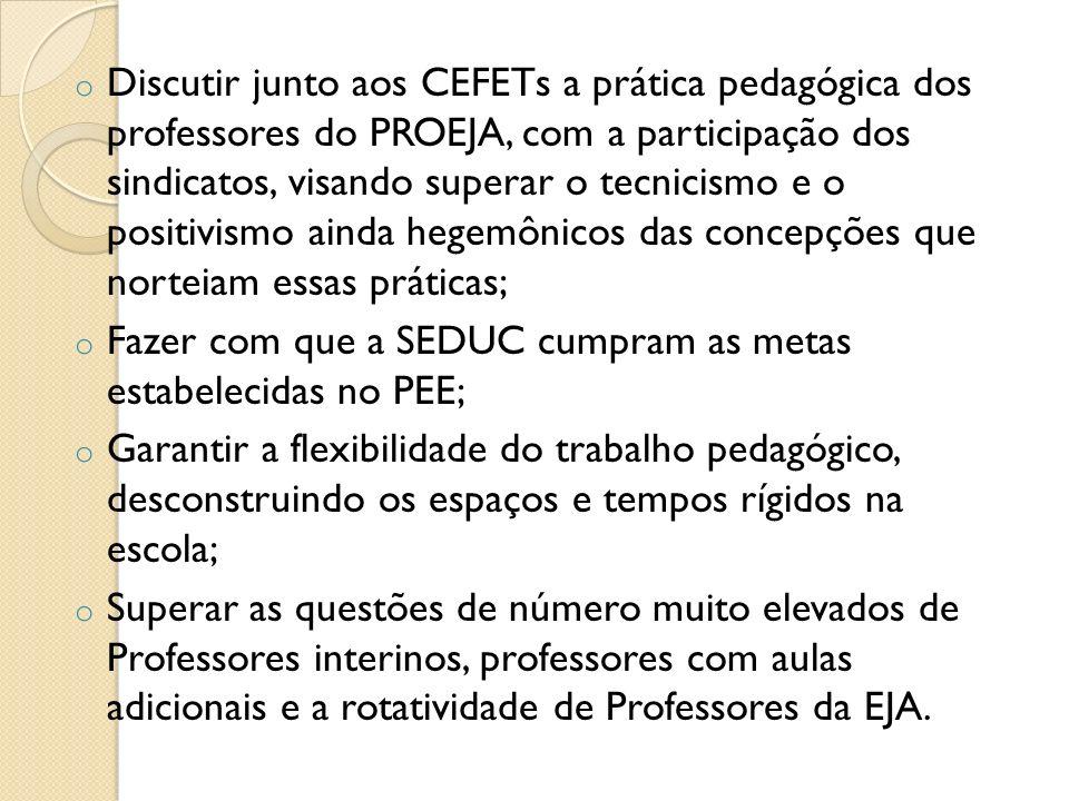 Discutir junto aos CEFETs a prática pedagógica dos professores do PROEJA, com a participação dos sindicatos, visando superar o tecnicismo e o positivismo ainda hegemônicos das concepções que norteiam essas práticas;
