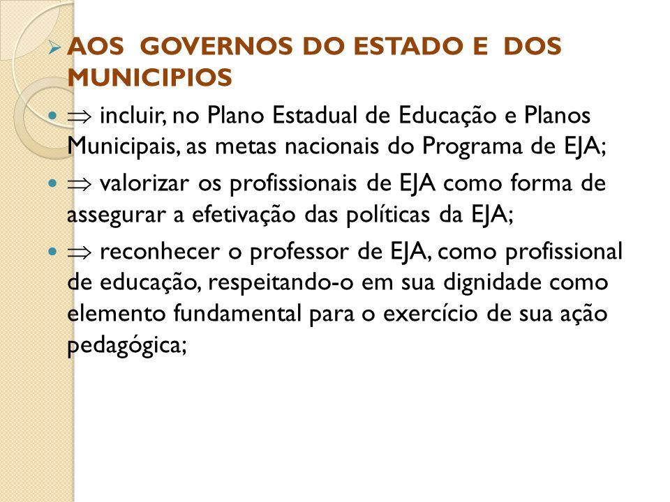 AOS GOVERNOS DO ESTADO E DOS MUNICIPIOS
