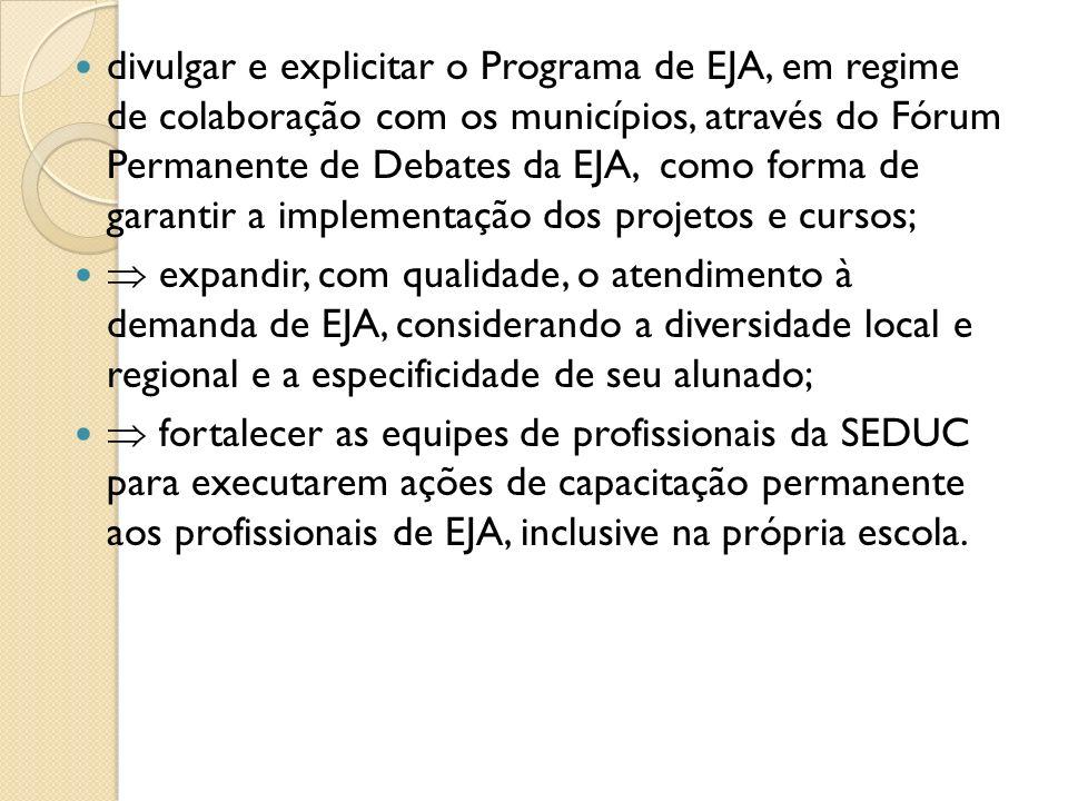 divulgar e explicitar o Programa de EJA, em regime de colaboração com os municípios, através do Fórum Permanente de Debates da EJA, como forma de garantir a implementação dos projetos e cursos;