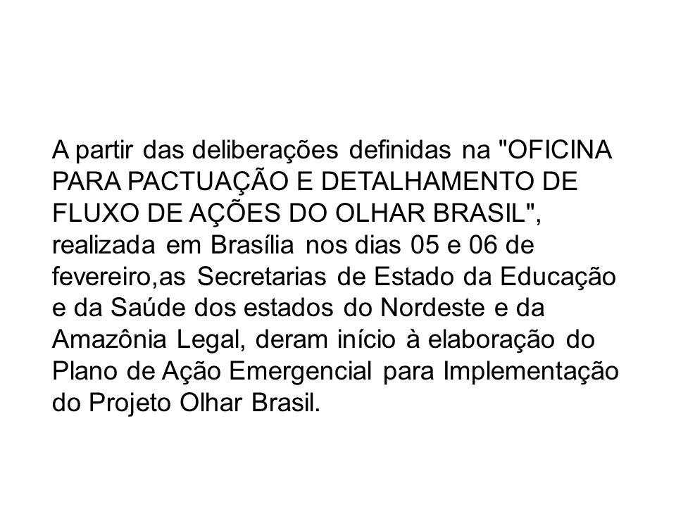 A partir das deliberações definidas na OFICINA PARA PACTUAÇÃO E DETALHAMENTO DE FLUXO DE AÇÕES DO OLHAR BRASIL , realizada em Brasília nos dias 05 e 06 de fevereiro,as Secretarias de Estado da Educação e da Saúde dos estados do Nordeste e da Amazônia Legal, deram início à elaboração do Plano de Ação Emergencial para Implementação do Projeto Olhar Brasil.