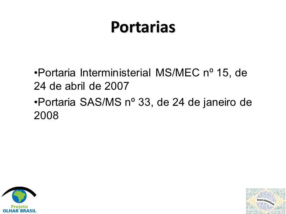 Portarias Portaria Interministerial MS/MEC nº 15, de 24 de abril de 2007.
