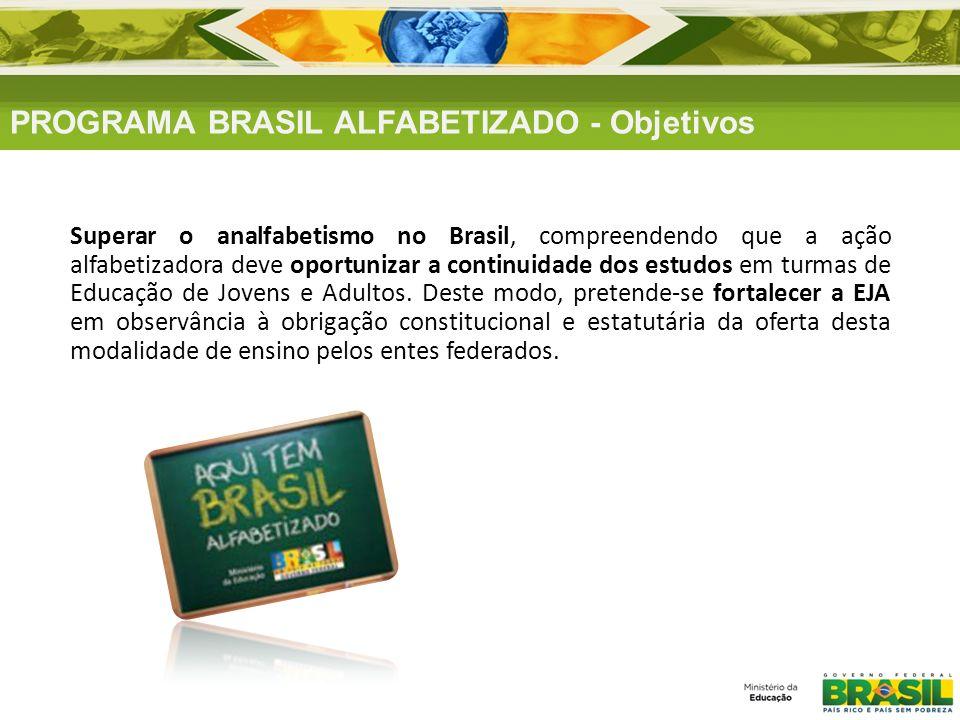 PROGRAMA BRASIL ALFABETIZADO - Objetivos