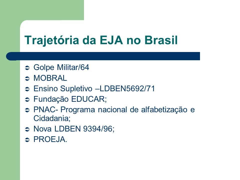 Trajetória da EJA no Brasil