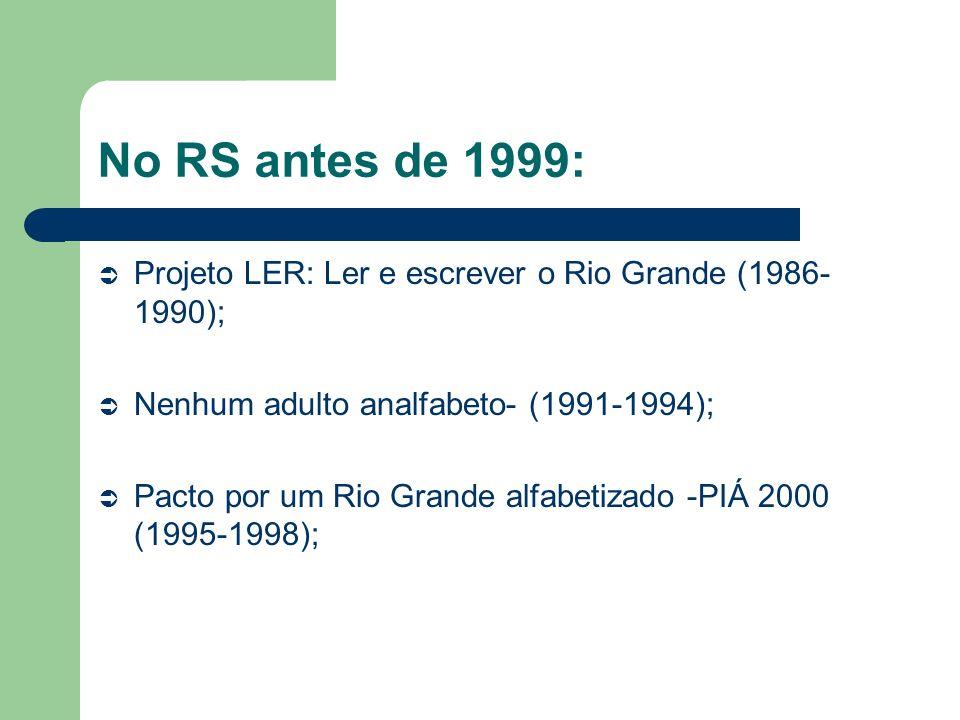 No RS antes de 1999: Projeto LER: Ler e escrever o Rio Grande (1986-1990); Nenhum adulto analfabeto- (1991-1994);